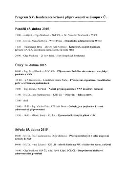 program konference Sloup 2015 - Společnost krizové připravenosti