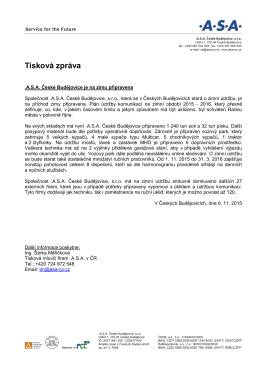 Tisková zpráva – zimní údržba komunikací 2015-2016