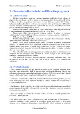 3. Charakteristika ŠVP - Klvaňovo gymnázium a Střední