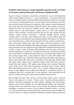 Prohlášení Charty Šumavy k rozsudku Nejvyššího správního soudu