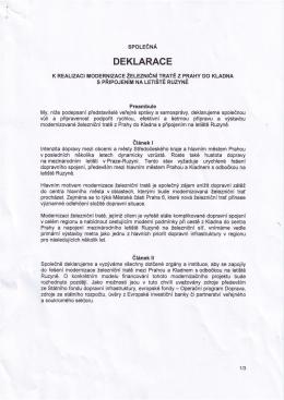 Společná deklarace k realizaci modernizace železniční tratě z Prahy