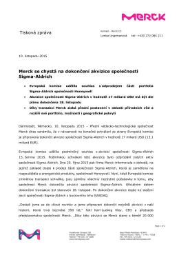 Tisková zpráva Merck se chystá na dokončení akvizice společnosti