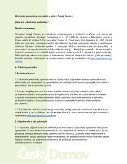 Obchodní podmínky pro média v sítích Český Domov (dále jen
