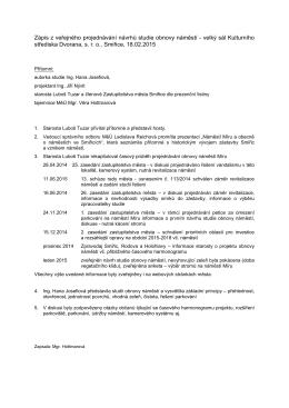 Zápis z veřejného projednávání návrhů studie obnovy náměstí