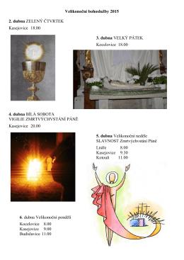 Velikonoční bohoslužby 2015 2. dubna ZELENÝ ČTVRTEK