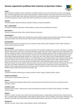 Seznam organismů k profilové části maturity na Gymnáziu Teplice