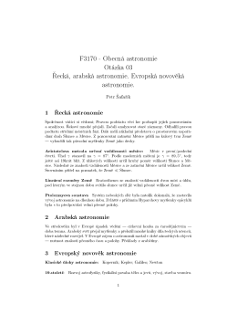 F3170 - Obecná astronomie Otázka 03 ecká, arabská astronomie