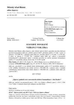 Veřejná vyhláška - stavební povolení č.j.