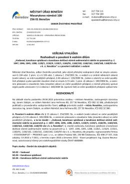 povolení 15-město Neveklov-vodovod,kanalizace Sýkorec