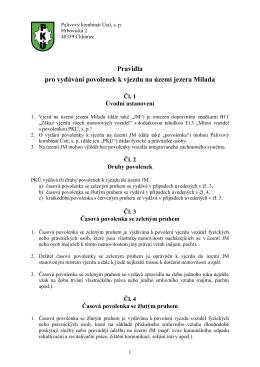 Pravidla pro vydávání povolenek k vjezdu na území jezera Milada