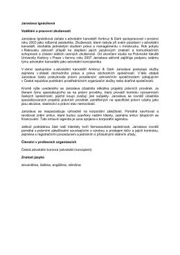 Jaroslava Ignáciková Vzdělání a pracovní zkušenosti