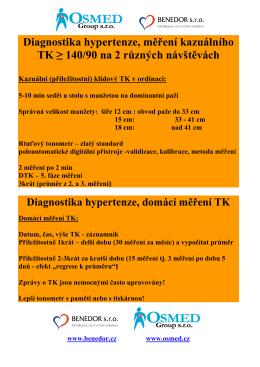 Diagnostika hypertenze, měření kazuálního TK ≥ 140/90 na 2