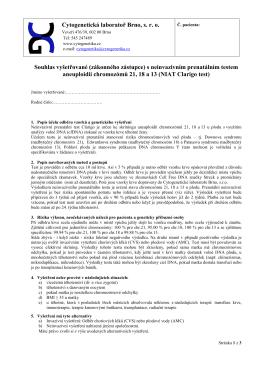 Cytogenetická laboratoř Brno, sro Souhlas vyšetřované