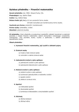 Sylabus předmětu – Finanční matematika