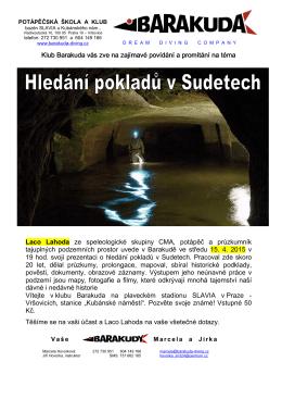 přednáška Hledání pokladů v Sudetech plakát