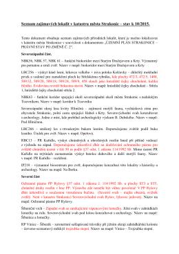 Seznam zajímavých lokalit v katastru města Strakonic – stav k 10