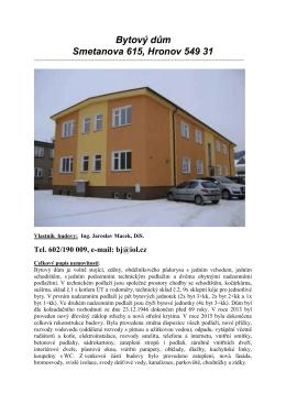 Bytový dům Smetanova 615, Hronov 549 31