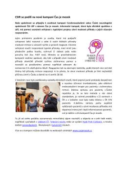 CSIR se podílí na nové kampani Čas je mozek
