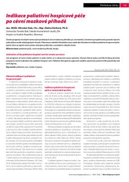 Indikace paliativní hospicové péče po cévní mozkové příhodě