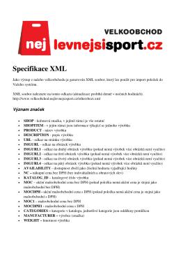Specifikace XML - Nejlevnejsisport.cz