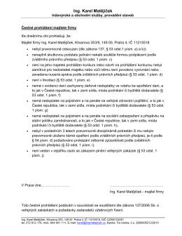 Prohlášení  - Ing. Karel Matějíček
