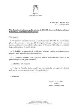 Odpověď podle zákona č. 106-1999 Sb. č.j. SPH 2494-2015
