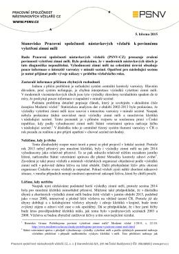 Stanovisko PSNV-CZ k povinnému vyšetření zimní měli