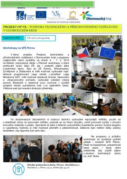 Workshopy na SPŠ Přerov NEWSLETTER 4 PROJEKT OP VK