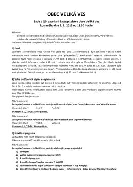Zápis ze zasedání zastupitelstva obce, září 2015