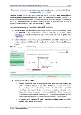 Monitoring PO1 - povinnosti příjemce dotace