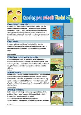 Katalog pro mladší školní věk