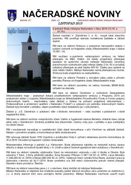 NAČERADSKÉ NOVINY - Městys Načeradec