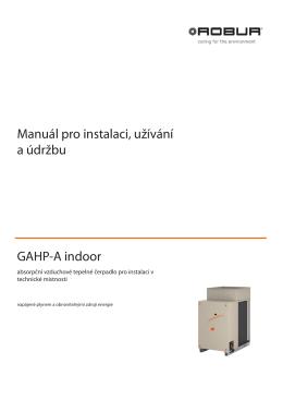 Manuál pro instalaci, užívání a údržbu GAHP