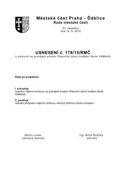 178/15/RMČ k smlouvě na pronájem prostor Obecního
