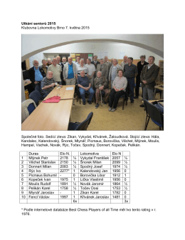 Utkani senioru 2015 - Šachový klub Lokomotiva Brno