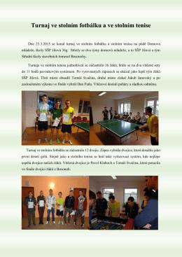 Turnaj ve stolním fotbálku a ve stolním tenise