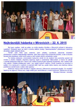 Nejkrásnější hádanka v Mirovicích - 22. 6. 2015