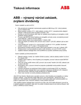 Tisková informace ABB – výrazný nárůst zakázek