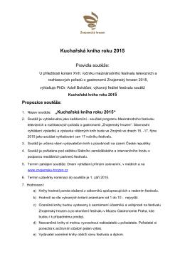 Pravidla - Kucharská kniha roku 2015
