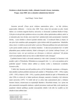 """Struktura a obsah Jesseniovy knihy """"Iohannis Jessenii a Iessen"""