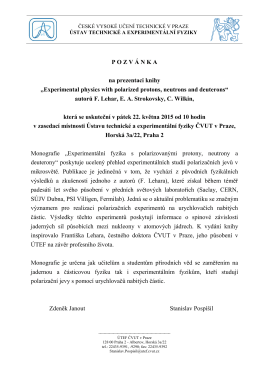 """P O Z V Á N K A na prezentaci knihy """"Experimental physics with"""