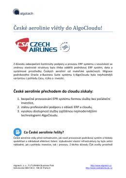 České aerolinie vlétly do AlgoCloudu!