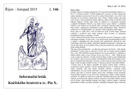 Říjen – listopad 2015 č. 146 Informační leták Kněžského
