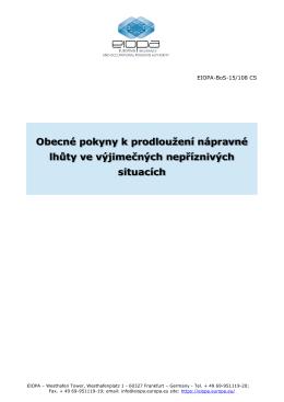 Obecné pokyny k prodloužení nápravné lhůty ve - eiopa