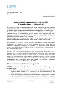 Stanovisko Unie zaměstnavatelských svazů ČR k Aktuální situaci ve