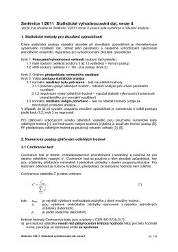 Směrnice č. 1/2011 Statistické vyhodnocování dat ver.4