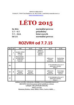 LÉTO 2015 - sport klub rb