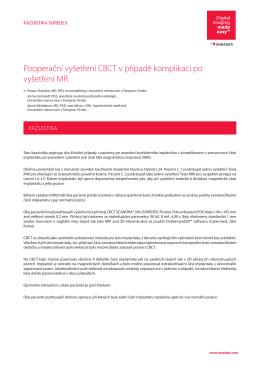 Technika: Pooperační vyšetření CBCT v případě komplikací