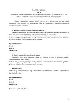 Obec Křížkový Újezdec ZÁPIS o průběhu 7. zasedání Zastupitelstva