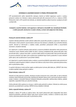Informace k uzavírání dohod o výkonu pěstounské péče